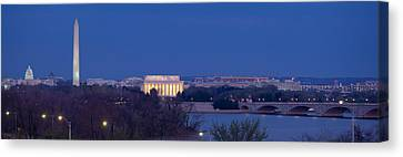 Democracy Canvas Print - View Of Washington Dc At Dusk by Panoramic Images