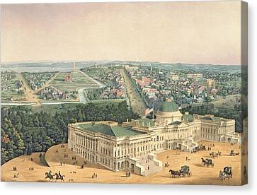 Old Canvas Print - View Of Washington Dc by Edward Sachse