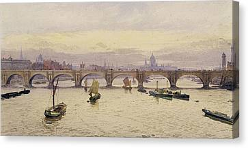 View Of Waterloo Bridge From Hungerford Bridge Canvas Print by John Crowther