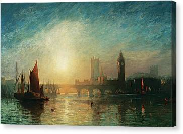 View Of Westminster Bridge And The Houses Of Parliament Canvas Print by James Francis Danby