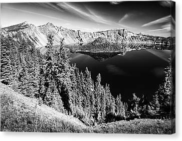 View Of Wizard Island Crater Lake B W Canvas Print by Frank Wilson