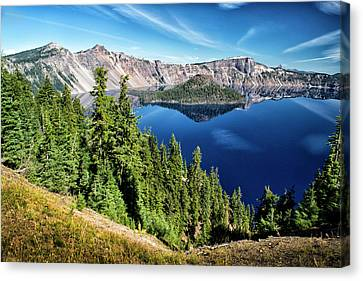 View Of Wizard Island Crater Lake Canvas Print by Frank Wilson