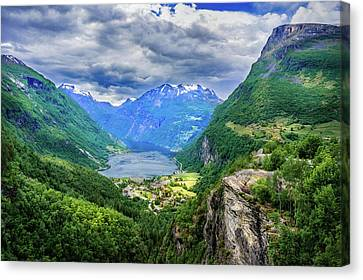 Canvas Print featuring the photograph View On Geiranger From Flydalsjuvet by Dmytro Korol