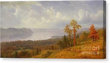 View On The Hudson Looking Across The Tappen Zee Towards Hook Mountain Canvas Print by Albert Bierstadt