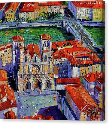 View Over Cathedral Saint Jean Lyon Canvas Print by Mona Edulesco