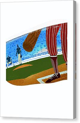 Baseball Uniform Canvas Print - View Over Home Plate In Baseball Stadium by Gillham Studios