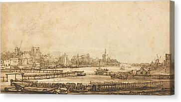 View Over The Amstel From The Rampart Canvas Print by Rembrandt