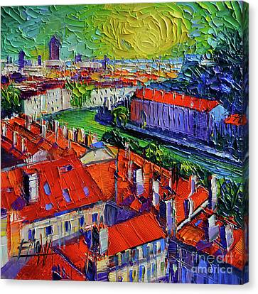View Over The City Of Lyon France Canvas Print by Mona Edulesco
