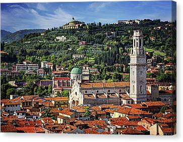 Red Roof Canvas Print - View Over Verona Italy  by Carol Japp