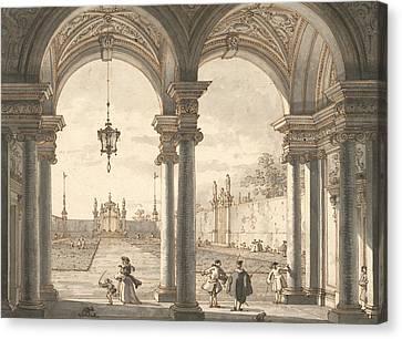 View Through A Baroque Colonnade Into A Garden Canvas Print