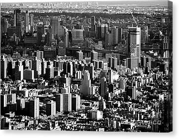views of the lower east side east village over the manhattan bridge to brooklyn New York City USA Canvas Print