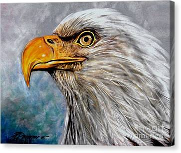 Canvas Print featuring the painting Vigilant Eagle by Patricia L Davidson