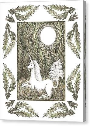 Vigilant Unicorn Canvas Print by Lise Winne