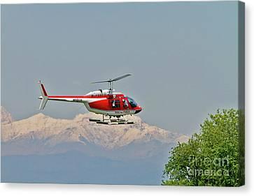 Vigili Del Fuoco Vf 80 Agusta A109 Power Helicopter Canvas Print by Amos Dor