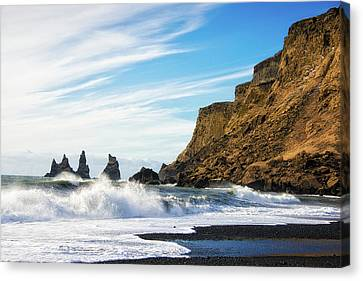 Canvas Print featuring the photograph Vik Reynisdrangar Beach And Ocean Iceland by Matthias Hauser