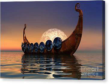 Viking Boat Canvas Print by Corey Ford