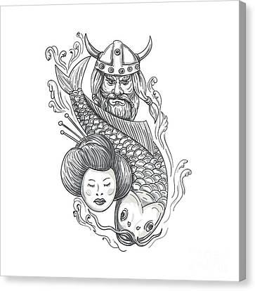 Viking Carp Geisha Head Tattoo Canvas Print by Aloysius Patrimonio