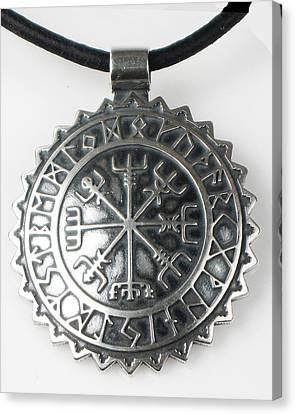 Viking Celtic Vegvisir Compass With Rune Calendar  - Sterling Silver Key Ring Or Pendant Canvas Print by Vagabond Folk Art - Virginia Vivier