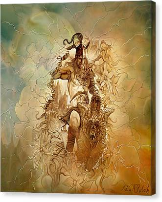 Canvas Print featuring the painting Viking Raider by Steve Roberts