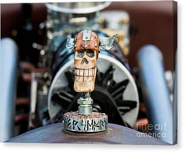 Canvas Print featuring the photograph Viking Skull Hood Ornament by Chris Dutton