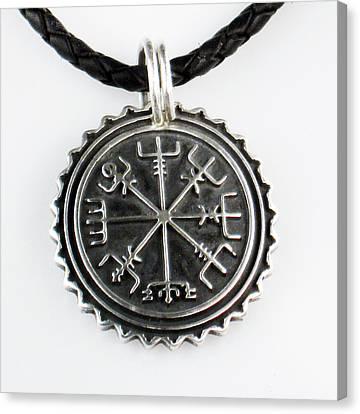 Viking Vegvisir Nautical Compass Protection Sterling Silver Pendant - Necklace - Keyring  Canvas Print by Vagabond Folk Art - Virginia Vivier