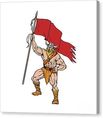 Viking Warrior Brandishing Red Flag Retro Canvas Print by Aloysius Patrimonio