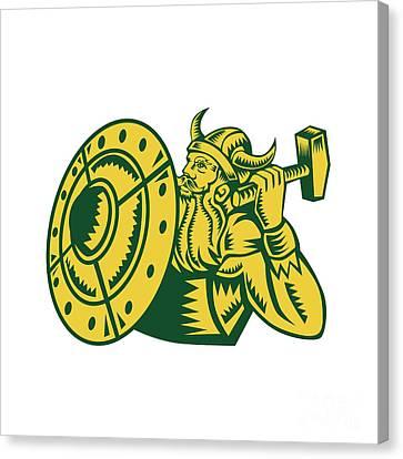 Viking Warrior Hammer Shield Woodcut Canvas Print
