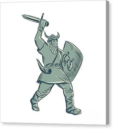 Viking Warrior Striking Sword Etching Canvas Print