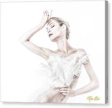 Viktory In White - Feathered Canvas Print