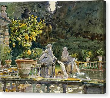 Villa Di Marlia Lucca A Fountain Canvas Print by John Singer Sargent