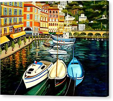 Canvas Print featuring the painting Villa Franche by Elizabeth Robinette Tyndall