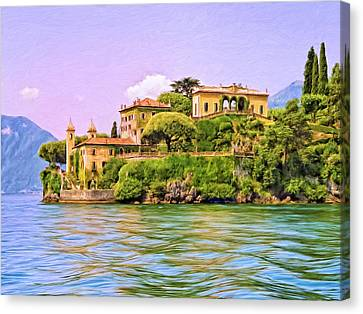 Villa On Lake Como Canvas Print by Dominic Piperata