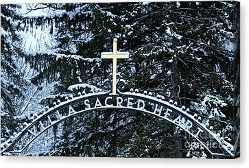Canvas Print featuring the photograph Villa Sacred Heart Winter Retreat Golden Cross by John Stephens