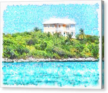 Villa Set In Greenery In The Bahamas Canvas Print
