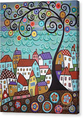 Art Sale Canvas Print - Village By The Sea by Karla Gerard