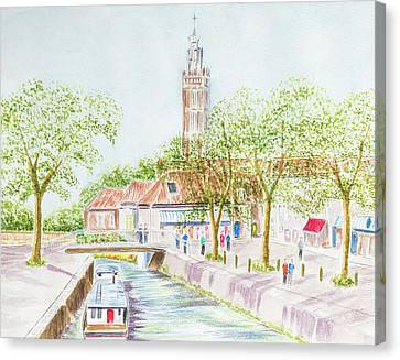 Village Canal Canvas Print by Roy Pedersen
