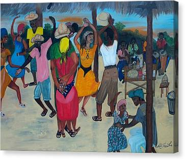 Village Dance Under The Pergola Canvas Print