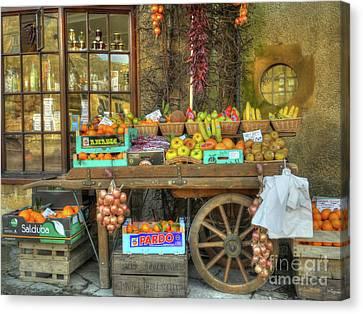 Village Greengrocer Canvas Print by Catchavista