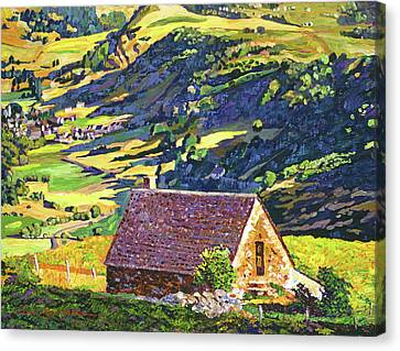 Village In The Valley Canvas Print by David Lloyd Glover