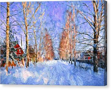 Village In Winter Time Canvas Print