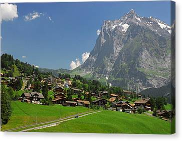 Village Of Grindelwald With Mount Canvas Print by Anne Keiser