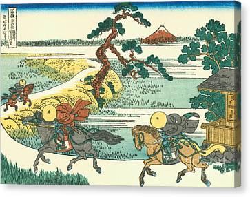 Village Of Sekiya At Sumida River Canvas Print by Hokusai