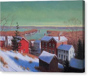 Village On The Hudson Canvas Print by Barry DeBaun