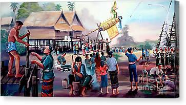 Village Rocket Festival-vintage Painting Canvas Print