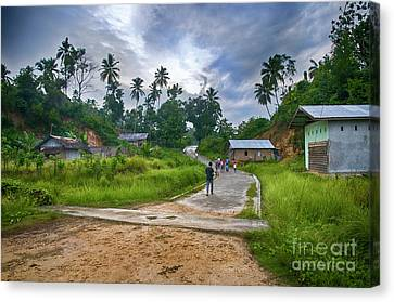 Canvas Print featuring the photograph Village Scene by Charuhas Images