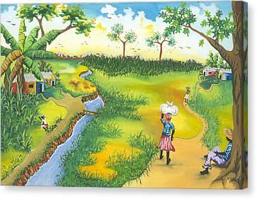 Village Scene Canvas Print by Herold Alveras