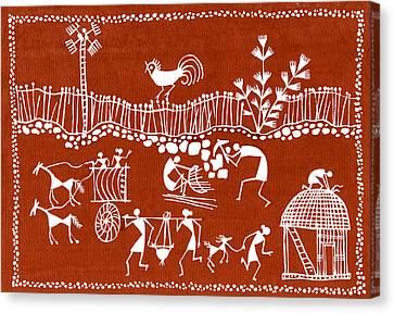 Village Scene In Warli Tribal Art Canvas Print by Jey Manokaran
