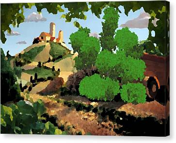 Canvas Print featuring the digital art Village. Tower On The Hill by Dr Loifer Vladimir