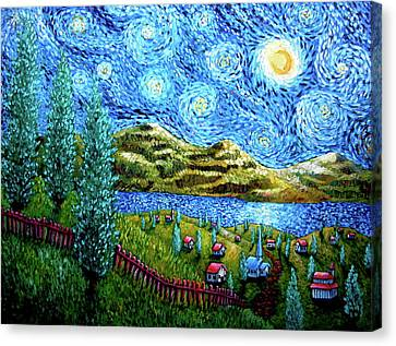 Village Under The Stars Canvas Print