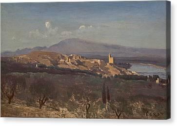 Villeneuve-les-avignon Canvas Print by Jean-Baptiste-Camille Corot